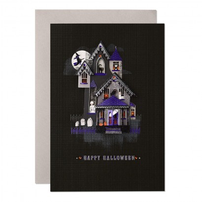 Spirited Haunted House Halloween Card