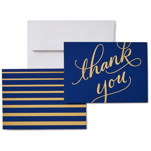 Classic Navy and Gold Thank You Notes