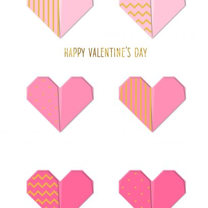 Folded Hearts Valentine's Day Card