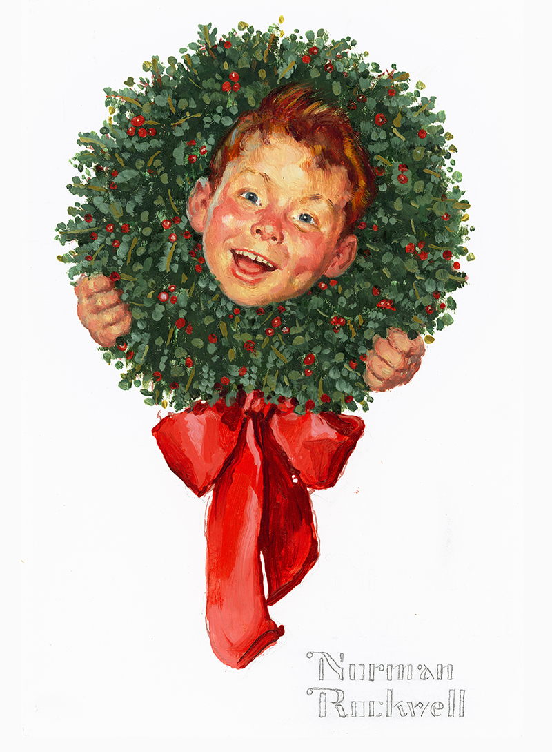 Norman Rockwell Christmas Wreath - Hallmark Corporate